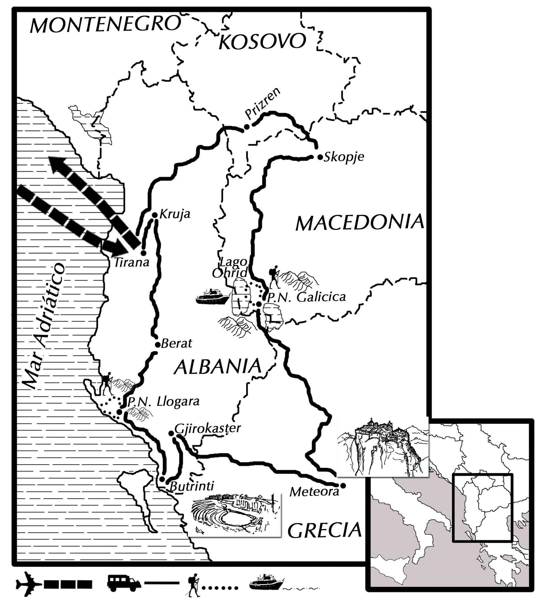 mapa ruta de los Balcanes Semana Santa