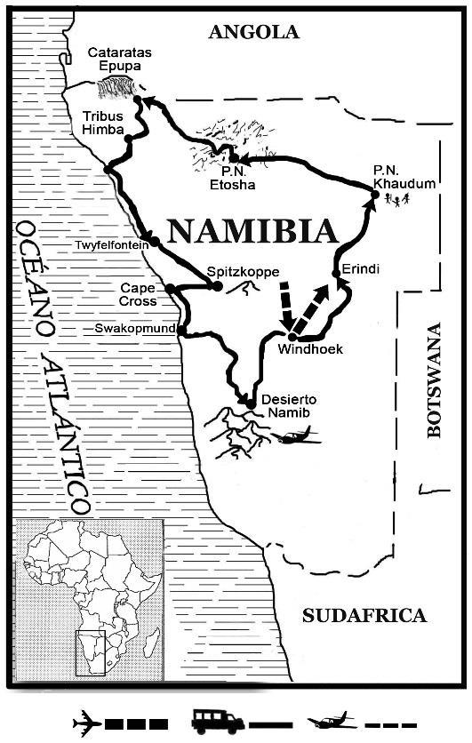 mapa de Explora Namibia Clásico