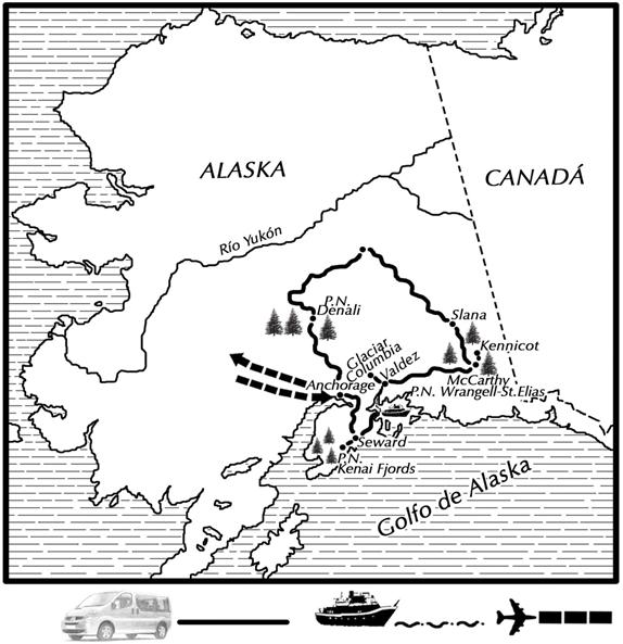 mapa de Alaska la última frontera