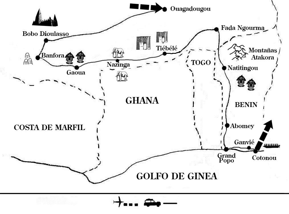 mapa de Burkina Faso y Benín, en tierra Sèbè