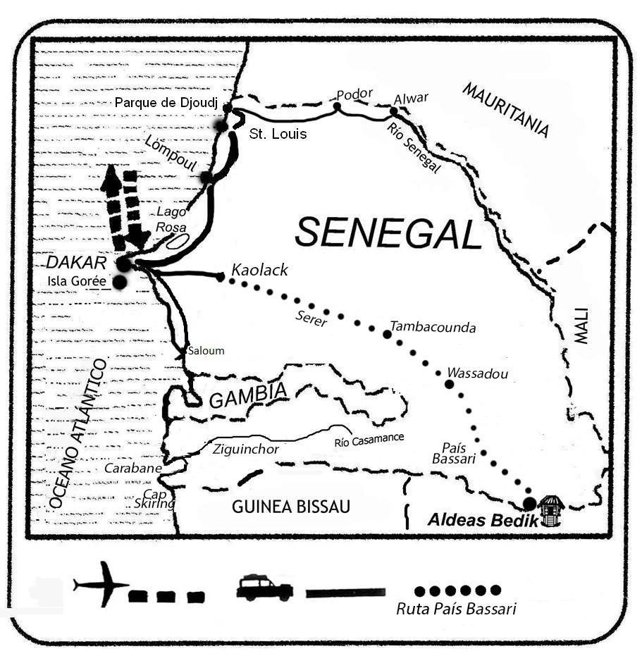 mapa de Senegal Aventura