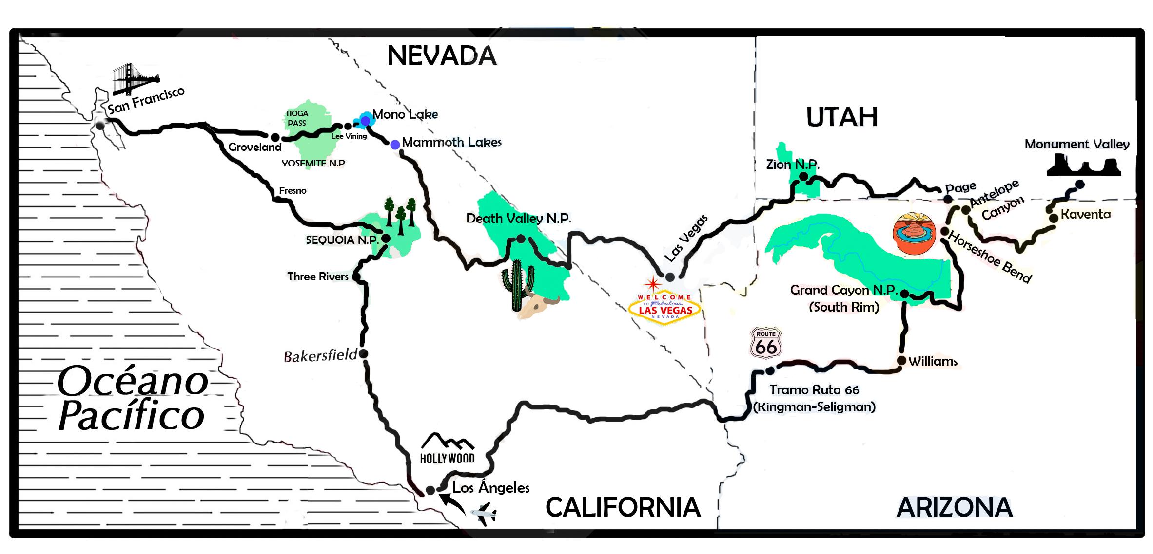 mapa de EE.UU. 16 días, Costa Oeste y Parques Nacionales