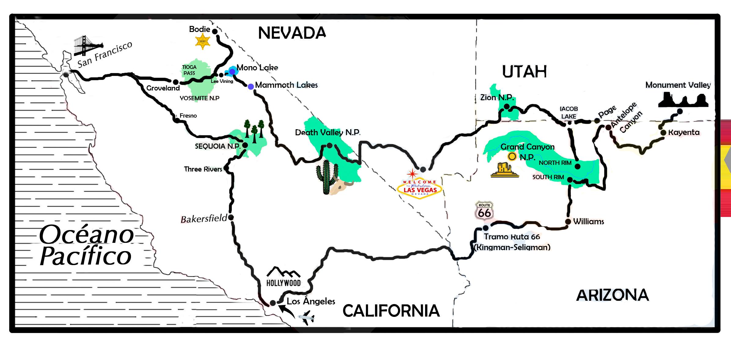 mapa de EE.UU. 20 días, el salvaje Oeste al completo