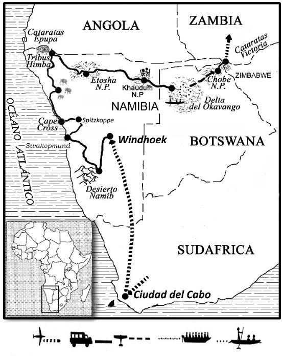 mapa de Ruta del Okavango Clásico