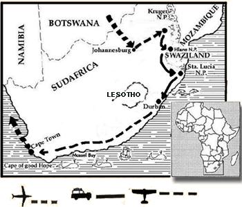 mapa de Sudáfrica Self Drive