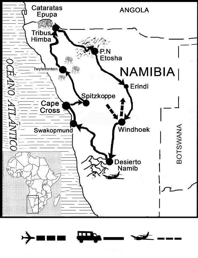 mapa de Explora Namibia Confort